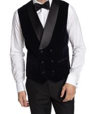 Double Breasted Velvet Vest Black