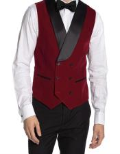 Double Breasted Velvet Vest Red