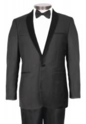 Velour Blazer Jacket 1 Button Black