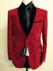 Velour Blazer Jacket Mens Red Velvet