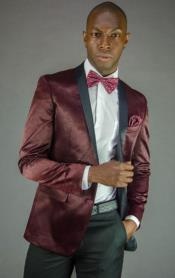 Mens2ButtonBlackandBurgundy~Wine~