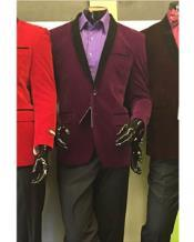 shawl Lapel Velvet Blazer Available In Purple Tuxedo /