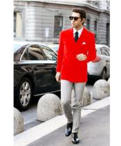 Mens Red Stylish Casual Tailored Double