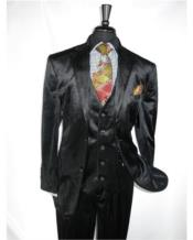 Mens Black 2 Button Velvet Fabric