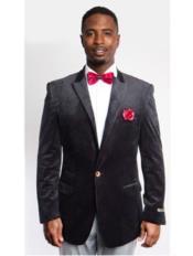 Black Fashion Peak Lapel Velvet Sport Coat velour Blazer