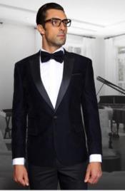 Navy 1 Button Velvet Fabric Discounted velour Blazer Jacket