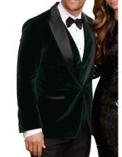 Olive ~ Forest Green Velvet Tuxedo velour Blazer Jacket~