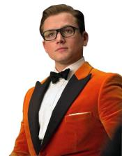 Nardoni Brand Orange Velvet Tuxedo Suit velour Blazer Jacket