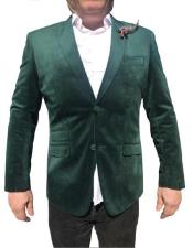 Green Fabric Stylish Imported Velvet Blazer