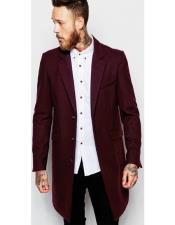 Maroon Flap Front Pockets Three Button Overcoats