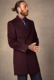 Burgundy Peak Lapel Cheap Priced Overcoats