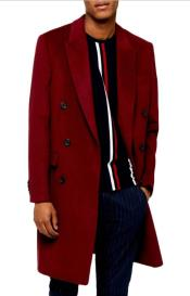 Wine Six Button Double Breasted Overcoats