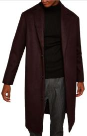 Burgundy Single Breasted Overcoats Perfect For Wedding and Prom