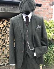 Green Ticket Pocket Peaky Blinders Suits for Men