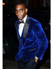 Royal Blue Velvet Tuxedo velour Blazer Jacket ~ Sport