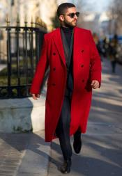 Red Overcoat Double Breasted Style Wool and Cashmere Fabric