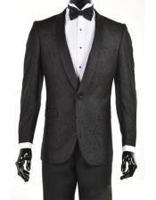 Mens Black Velvet Paisley Suit Jacket