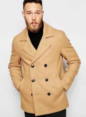 Camel Wool Fabric Six Button Peacoat