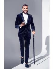 Nardoni Dark Navy Blue and Black Velvet Tuxedo Suit