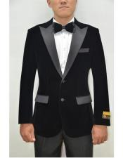 Black Peak Lapel Velvet Fabric Cocktail