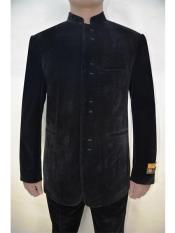 Mens Eight Button Mandarin Banded Collar Black Velvet Fabric
