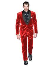 One Button Red Single Breasted Velvet Tuxedo Suit velour