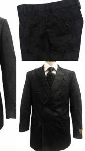 Alberto Nardoni Black Paisly Paisley Double Breasted Velvet Suit