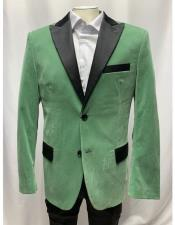 Mens Singe Breasted Sage velour Blazer