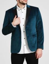 Mens Teal Blue Velvet Tuxedo velour Blazer Jacket