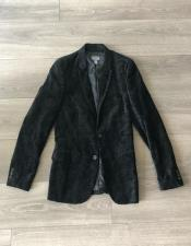 Mens Black Paisley Fashionable Polish Velvet