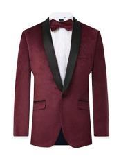 Burgundy Side Vents Velvet 2 Piece Tuxedo