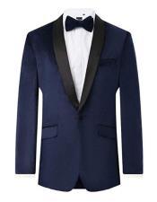 Mens Navy Velvet 2 Piece Tuxedo Regular Fit Contrast