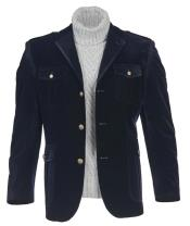 Navy Regular Fit Metallic Buttons Jacket