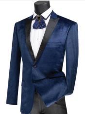 Navy Side Vents Velvet Fabrics Tuxedo