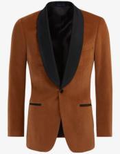 Brown ~ Cognac Velvet Tuxedo velour Blazer Jacket