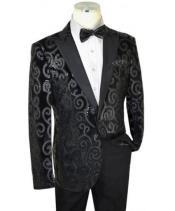 Black Sequined Velvet / Satin Modern slim fit cut