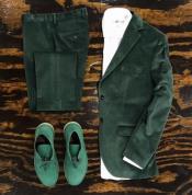 Tuxedo Dinner Jacket velour Blazer Jacket + Scarab Green
