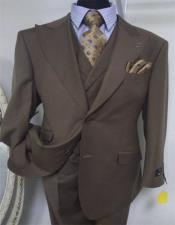 Brown Peak Lapel Single Breasted Two