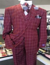 Burgundy Two Button Notch Lapel Suit