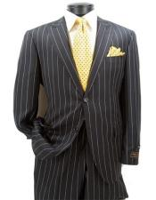 Black Peak Lapel Pinstrip Pattern Suit
