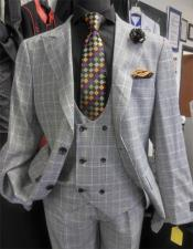 Mens Ash Two Button Peak Lapel