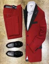 Mens Red Shawl Lapel Velvet Suit