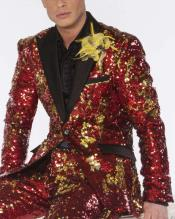 Edition Pre order Feb/30/2020 Mens Sequin Suits Red/Gold Perfect