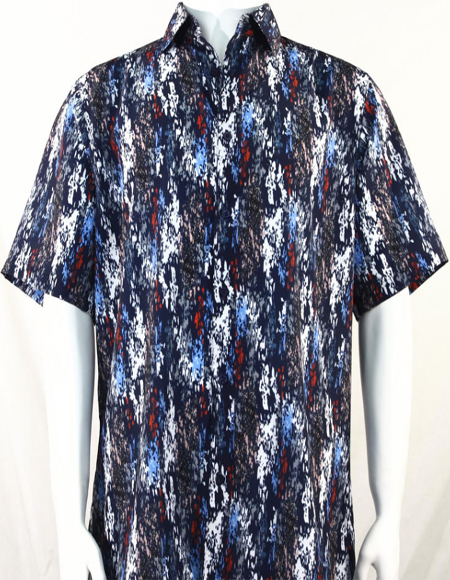 Blue & Red Splash Pattern Short Sleeve Camp Shirt