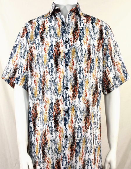 Orange and Gold Splash Pattern Short Sleeve Camp Shirt