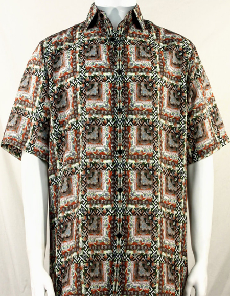Brown & Rust Abstract Squares Short Sleeve Camp Shirt