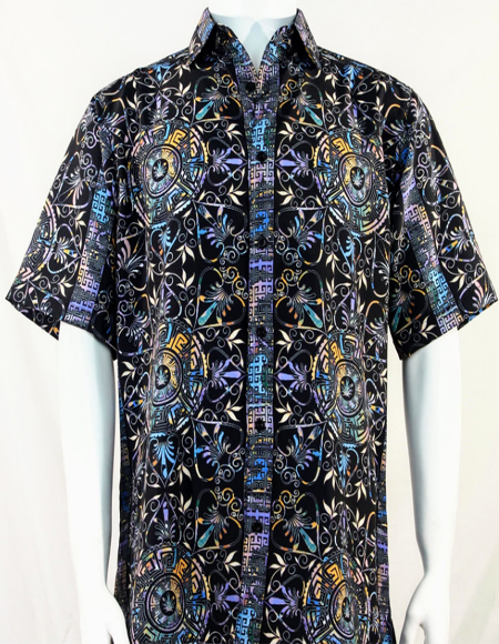Black & Blue Festive Design Short Sleeve Camp Shirt