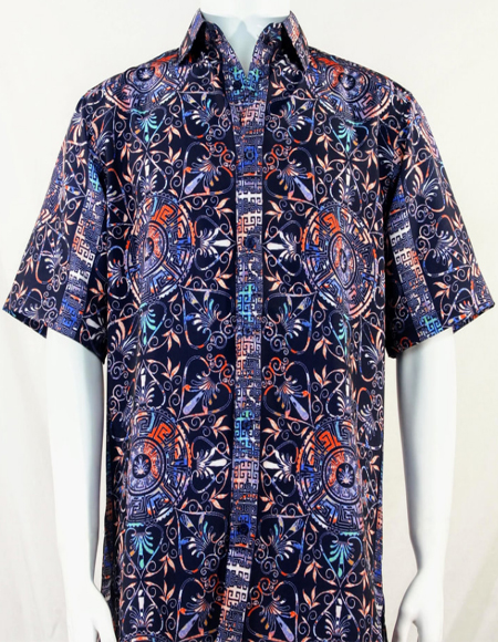 Navy Festive Design Short Sleeve Camp Shirt 5009