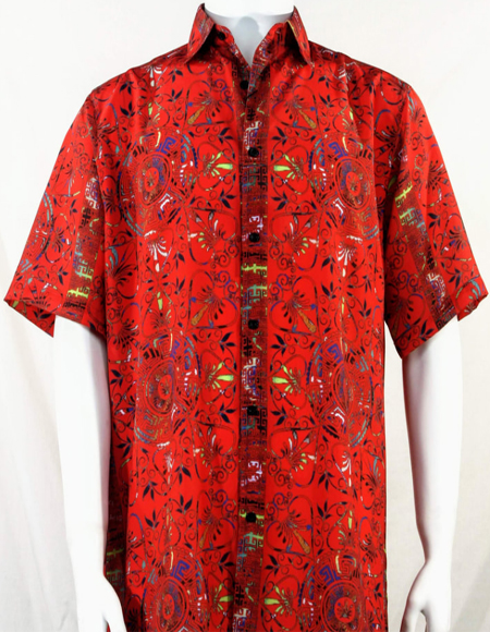 Red Festive Design Short Sleeve Camp Shirt 5008