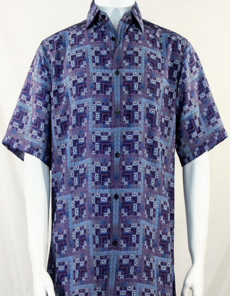 Purple Greek Key Design Short Sleeve Camp Shirt 5005